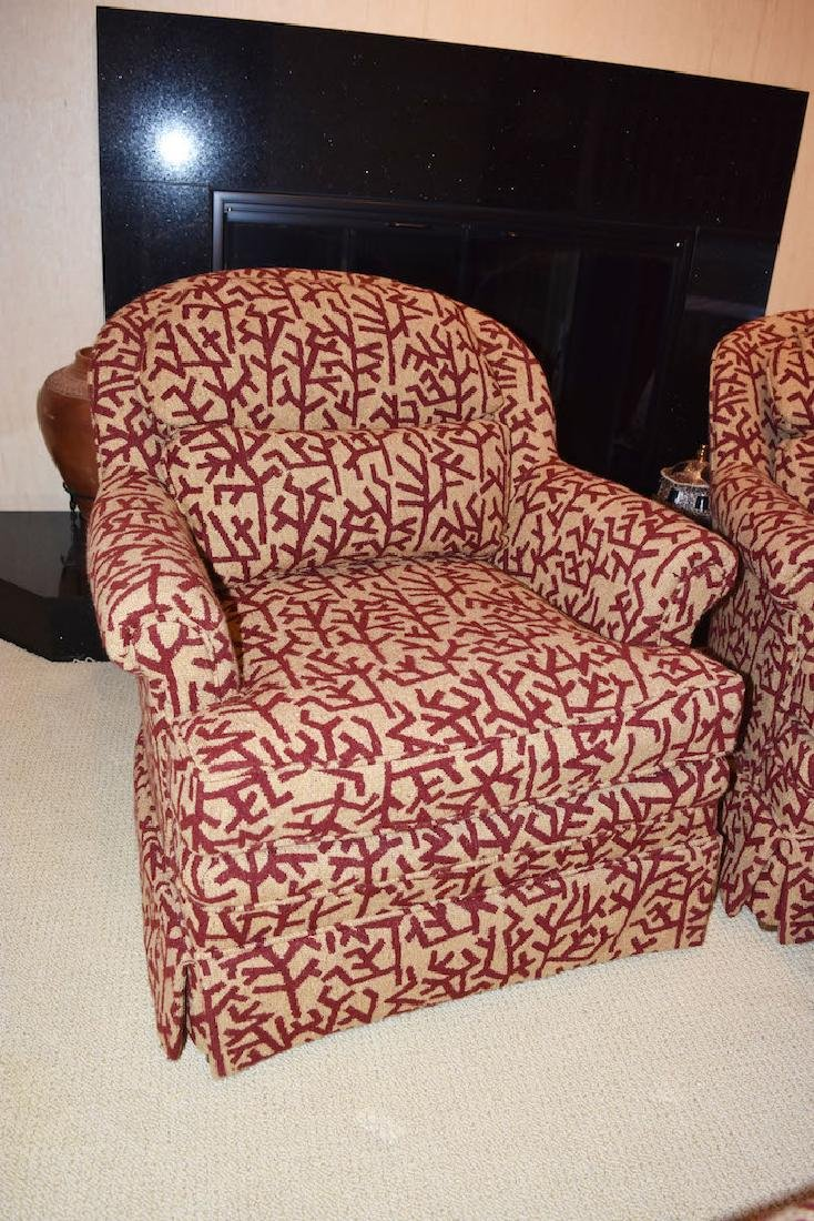 Pair Drexel Upholstered Arm Chairs W/ Ottoman - 3