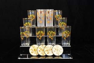 Halls Autumn Leaf Glassware and Coasters
