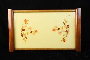 Halls Autumn Leaf Glass and Wood Serving Tray