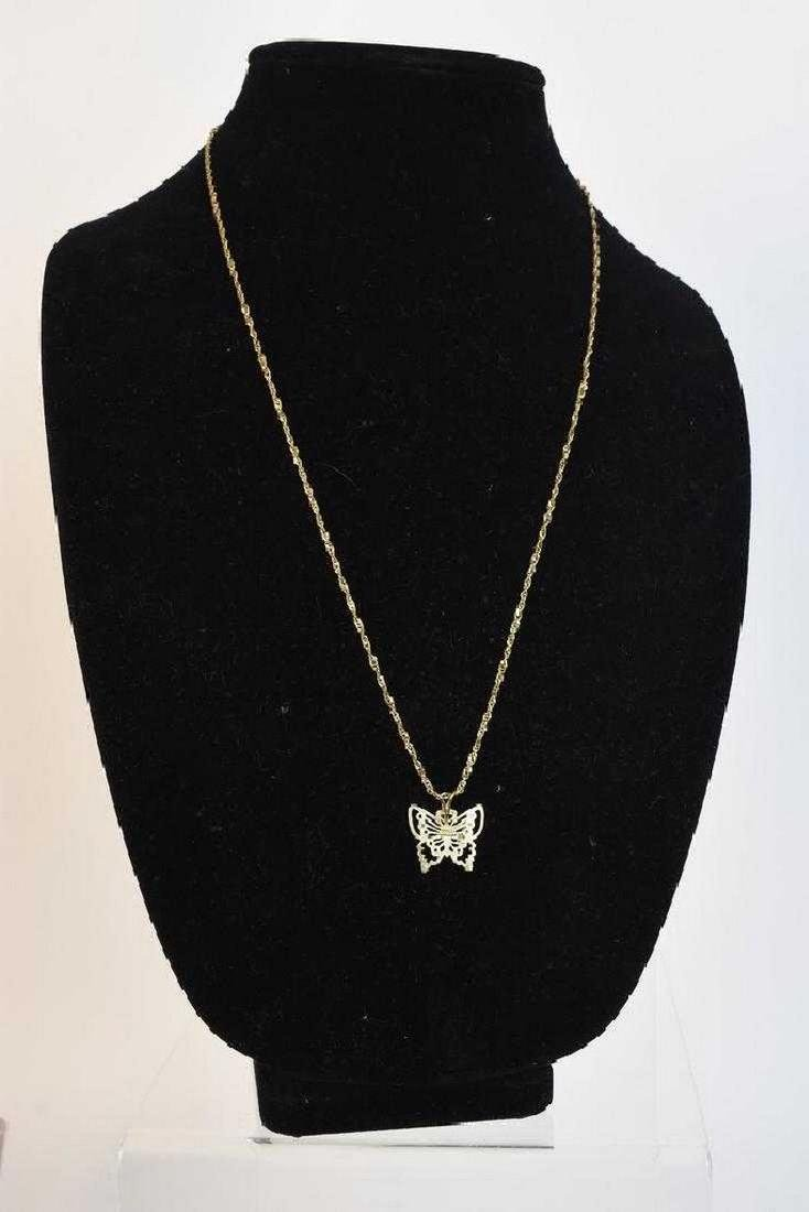 14K Gold Necklace & Butterfly Pendant; 6g - 2