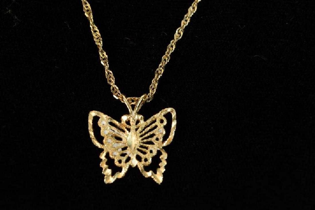 14K Gold Necklace & Butterfly Pendant; 6g - 5