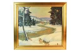 Carl R. Krafft Winter Scene Oil on Canvas, SLR