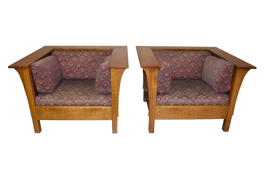 Stickley Prairie Oak Mission Style Arm Chairs