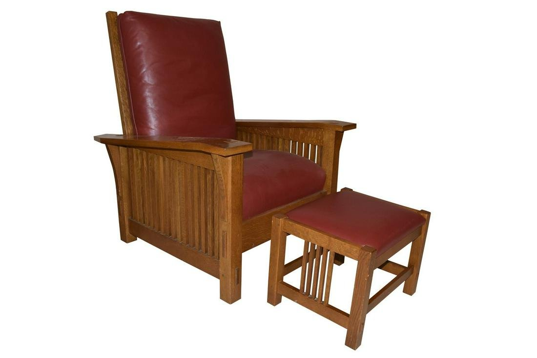Stickley Oak Mission Style Morris Chair w/ Ottoman