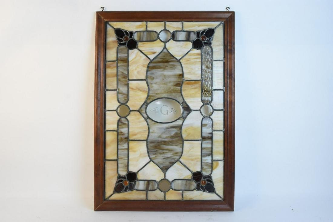 """Vtg. Stained Glass """"G"""" Panel"""