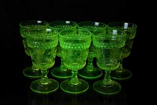 Antique Adams Uranium Glass Goblets