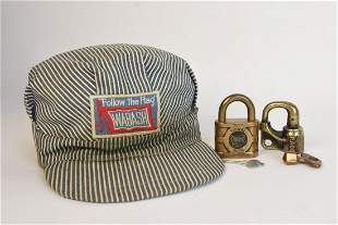Wabash PRR Hat W 2 Brass Railroad Padlocks
