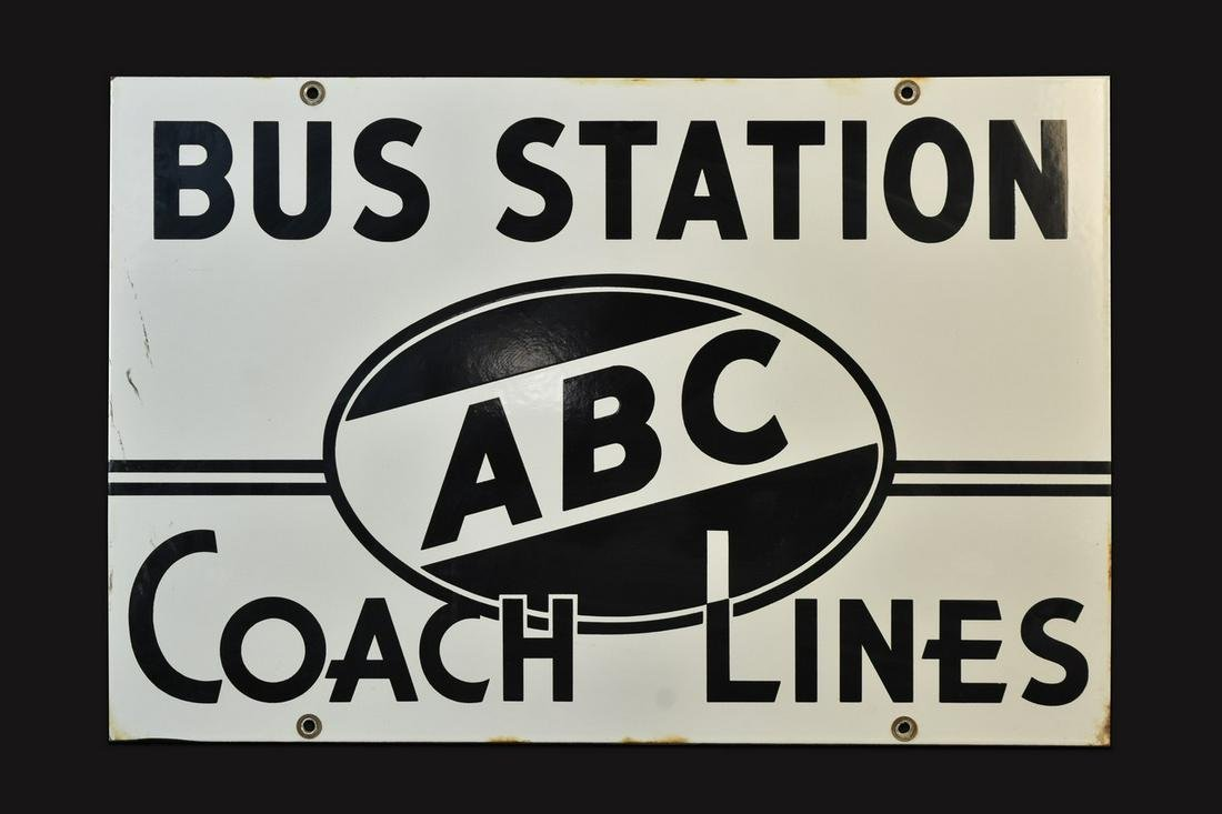 ABC Bus Station Coach Lines Double-Sided Porcelain Sign