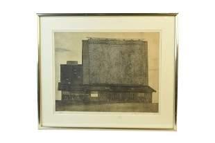 "Tanaka Ryohei Etching ""Yamato Farm House"", 1965"