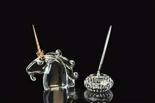 Steuben Crystal Unicorn Head & Waterford Pen Holder