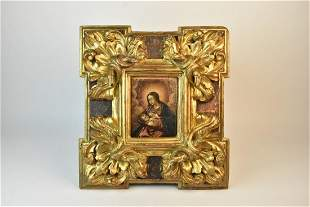 Antique Madonna & Child Painting in Ornate Frame