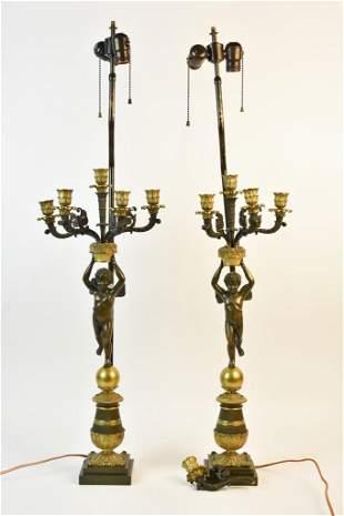 Antique French Bronze Cherub Lamps