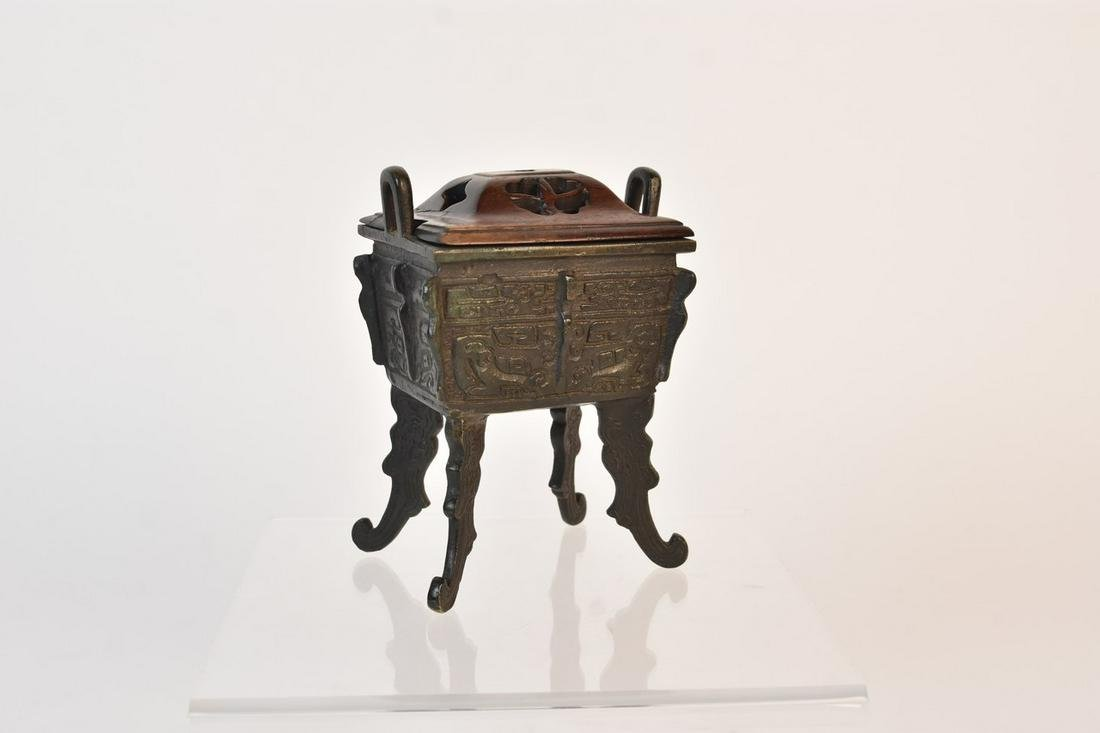 Chinese Censer with Wood Lid