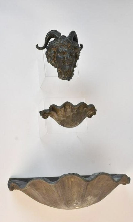 Bronze Satyr Tiered Wall Fountain