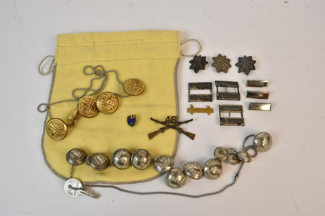 WWI & WWII Era Pins & Buttons Incl. Sterling 1.35 ozt
