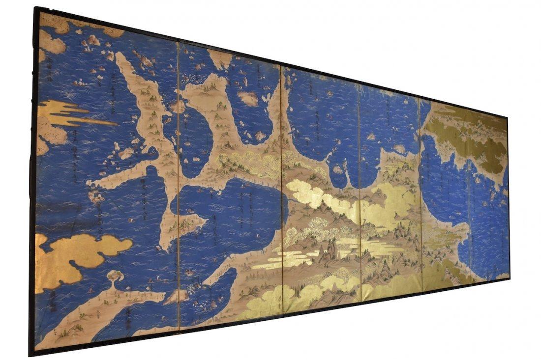 Japanese 6-Panel Screen Map, c. 19th Century