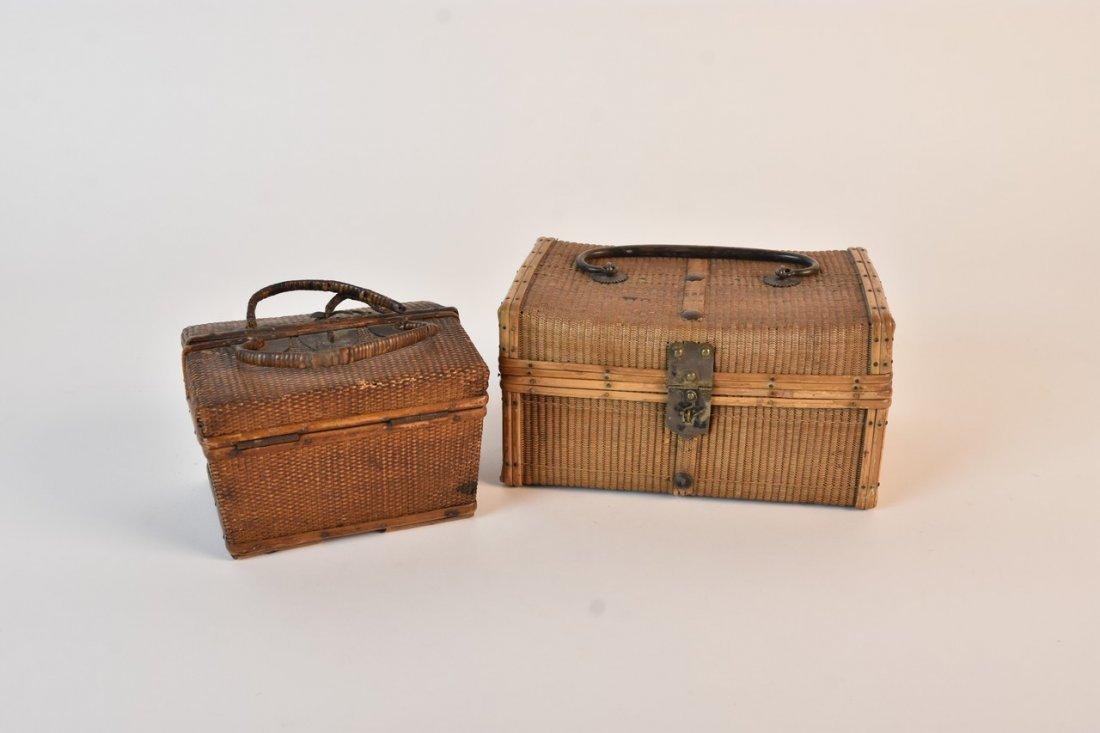 Pair Antique Thai Bamboo Ratan Hand Woven Boxes
