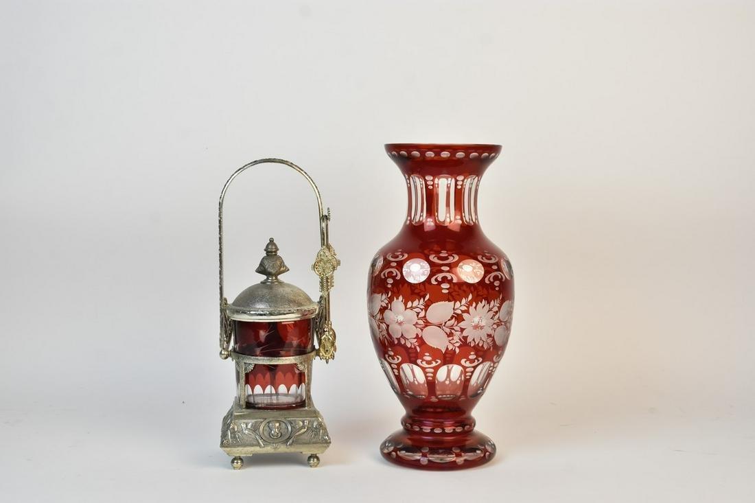 Cranberry Pickle Castor & Crystal Vase