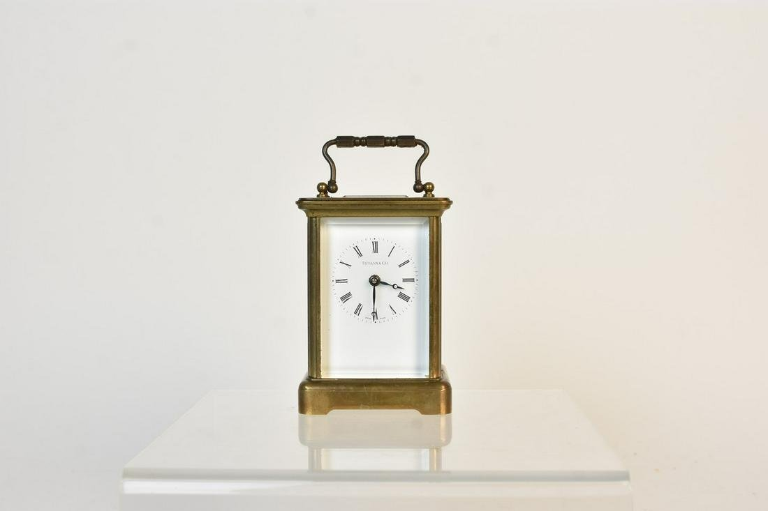 Brass and Glass Carriage Clock, Tiffany & Co