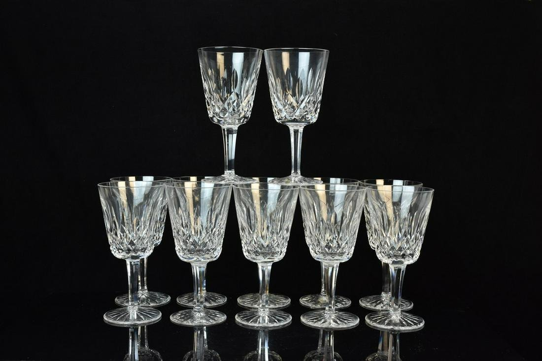 """(12) Waterford """"Lismore"""" Water Goblet Glasses"""