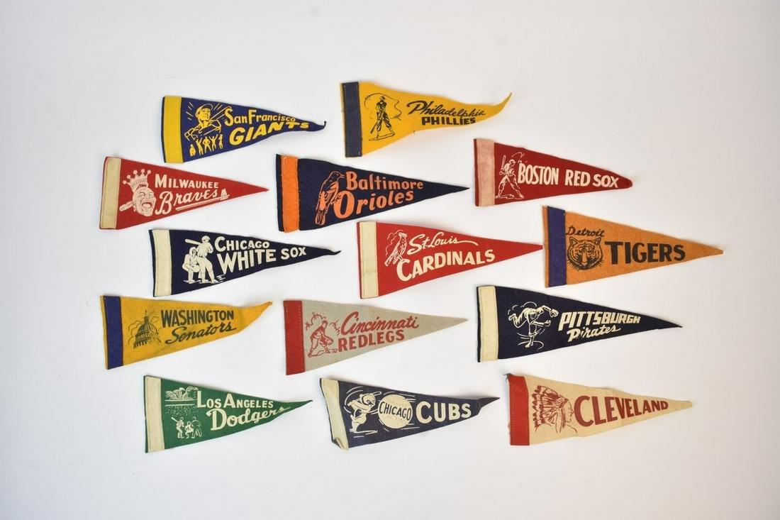 (14) Vintage Baseball Pennants, Small