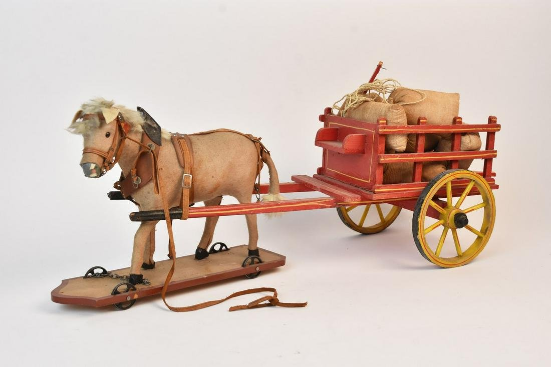 Antique Horse Drawn Wagon Pull Toy