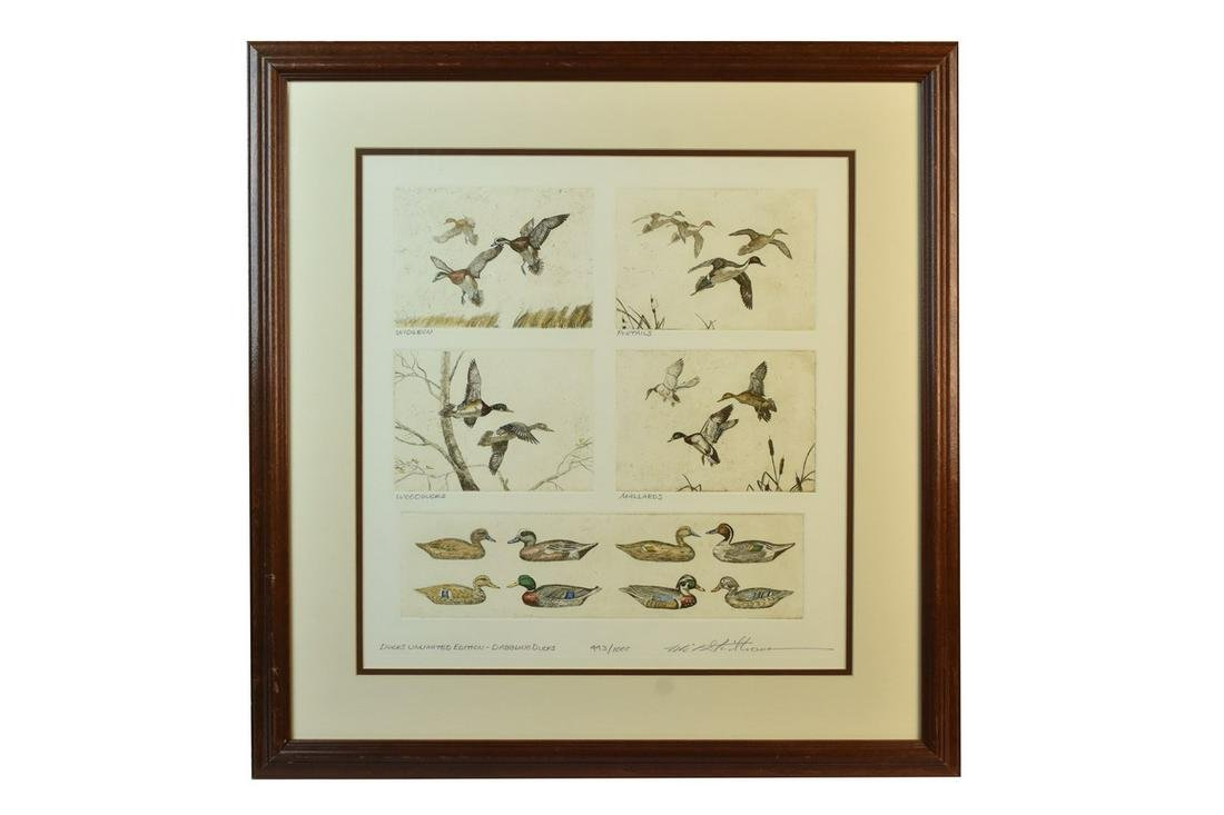 Hand Colored Mike Stidham Ducks Unlimited Etching