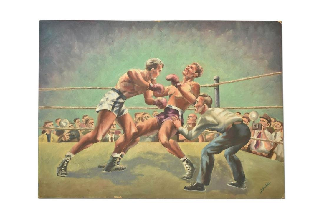 Signed Oil Painting of a Boxing Match