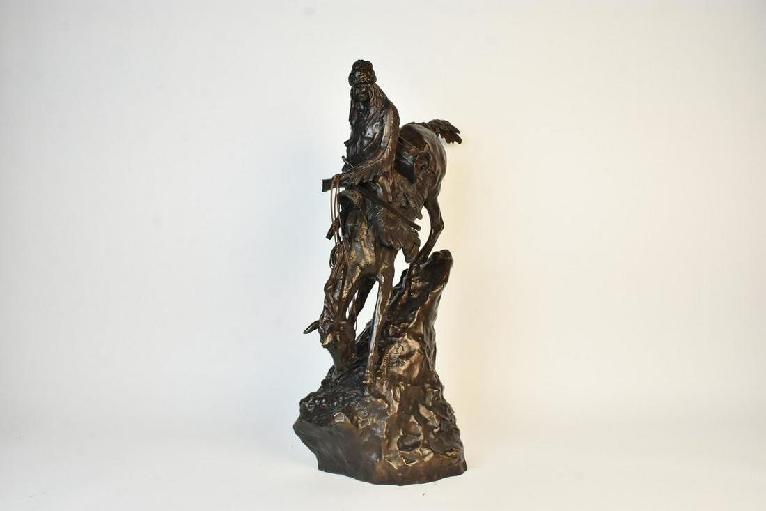 After Remington Bronze Native American on Horse