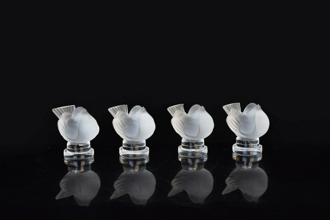 (4) Lalique Bird Figurines