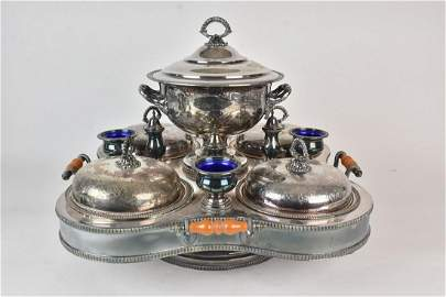 Silver Plate Revolving Buffet Server and Warmer