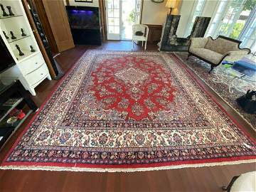 Persian Sarouk Area Rug, Hand Knotted 10.5