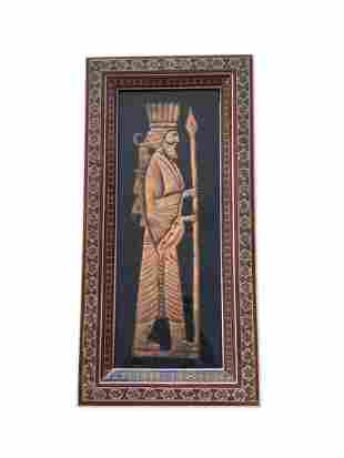 Persian Copper Figure in Inlaid Frame