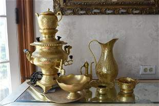 Vtg Brass Persian Electric Samovar Accessories
