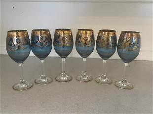 Gilt Decorated Blue Glass Bohemian Stemware