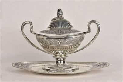 Titulo Portuguese 916 Silver Soup Tureen w/ Tray