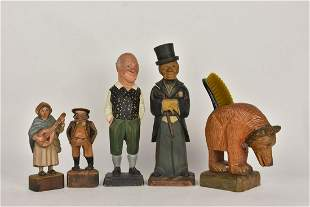 Vintage Wood Characters Two w Shoe Brush Holders
