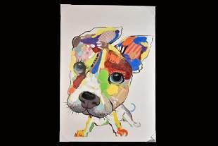 Pop Art Dog Mixed Media on Canvas