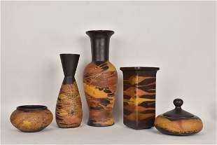 5 MidCentury Modern Royal Haeger items 3 vases 2 bo