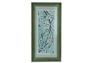 "Fannie Mennen ""Dogwood"" Wood Block Print"