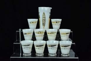 Fred Press White Cased Gold Fish Rocks Glasses & Pourer