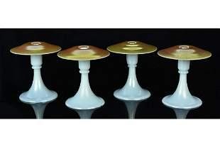 Steuben Aurene & Calcite Candlesticks