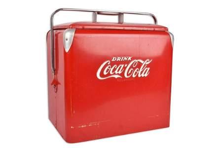 Vtg. Coca-Cola Cooler w/ Tray