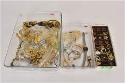 Large Mixed Lot Vintage Gold tone Costume Jewelry