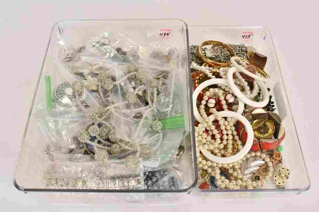 Large Mixed Lot Vintage Silver tone Costume Jewely