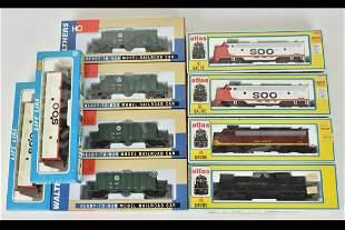 (10) Atlas, Walthers & Life-Like HO Train Cars/Eng
