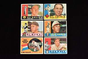 (6) 1960 Topps Kaline, Hodges, B Robinson & more