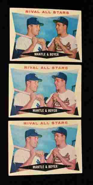 (3) 1960 Topps # 160 Mantle & Boyer baseball
