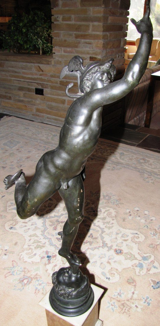 "63: ""Mercury"" 40-Inch Bronze Statue on Marble Base"