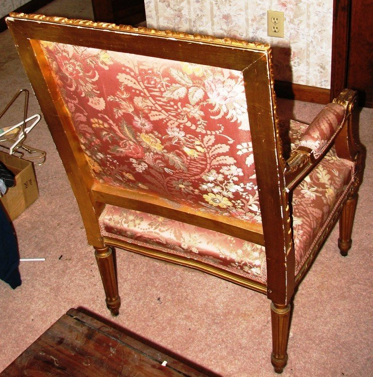21: Antique Ornate Gold Chair - 3